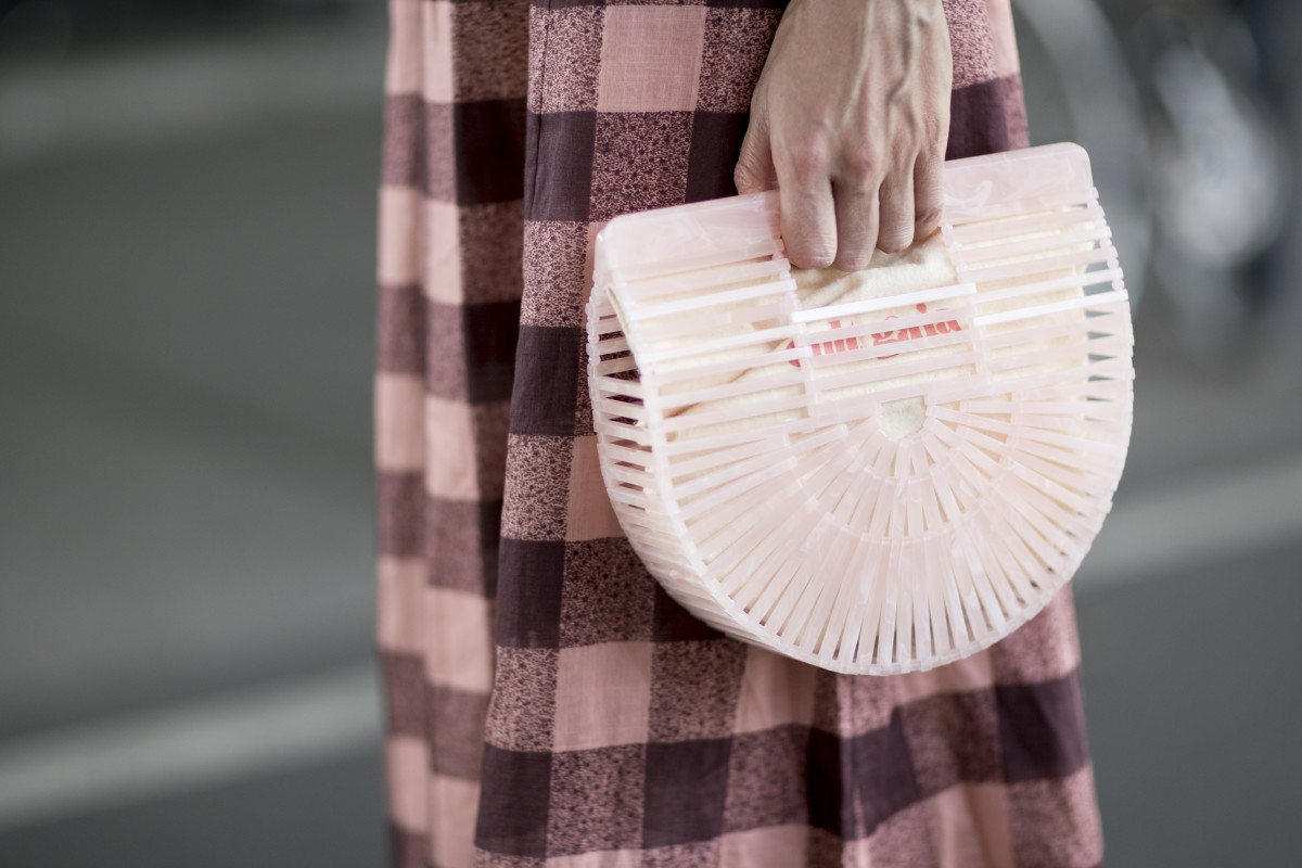 A Cult Gaia clutch at New York Fashion Week. Photo: Imaxtree