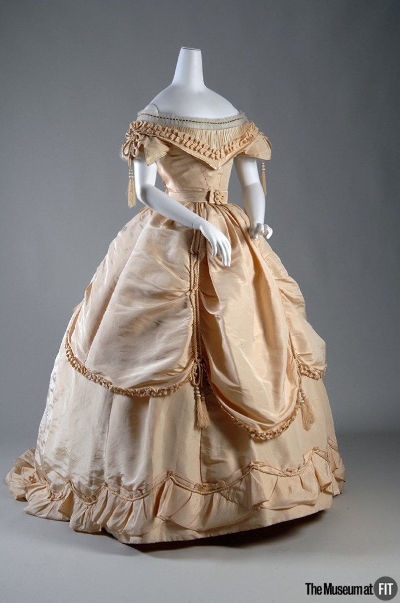 "An 1865 dress from Scotland on display at ""The Body: Fashion and Physique"" at The Museum at FIT. Photo: Eileen Costa"