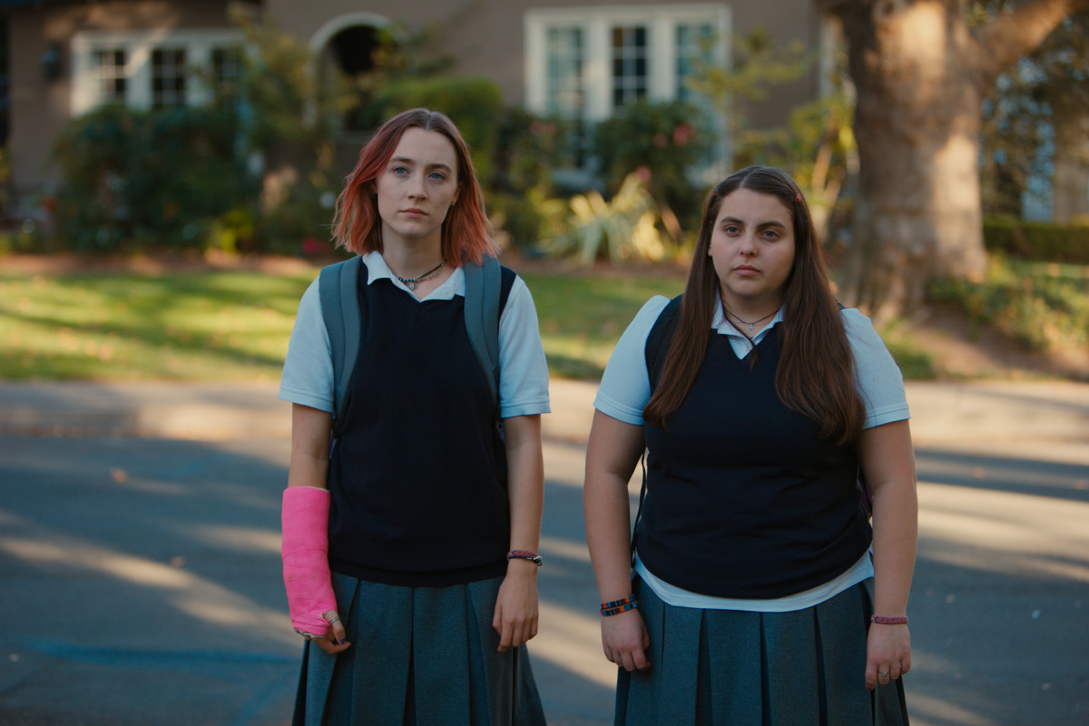 Lady Bird and BFF Beanie (Julie Steffans). Photo: Merie Wallace, courtesy of A24
