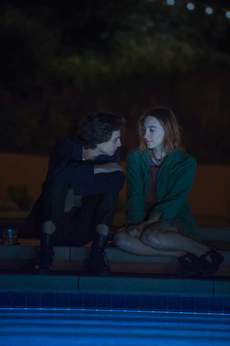 Kyle (Timothée Chalamet) and Lady Bird (Saoirse Ronan). Photo: Merie Wallace, courtesy of A24