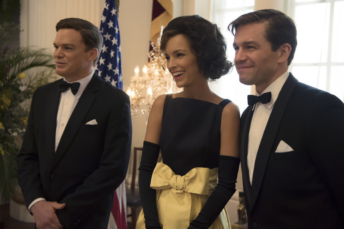 John F. Kennedy (Michael C. Hall), Jackie Kennedy and Bobby Kennedy (Julian Ovenden) in episode eight. Photo: Alex Bailey/Netflix