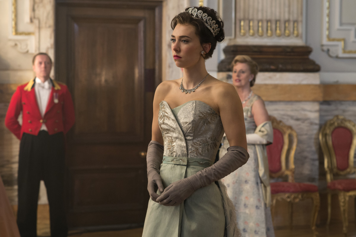 Not Princess Margaret's wedding gown in episode two. Photo: Alex Bailey/Netflix