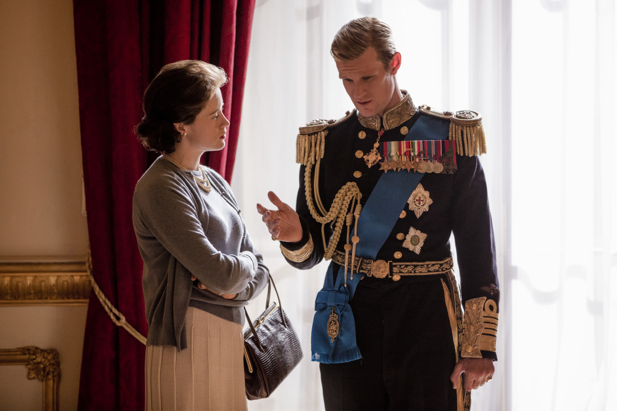 Queen Elizabeth II (Claire Foy) and Prince Philip (Matt Smith) in episode one. Photo: Robert Viglasky/ Netflix
