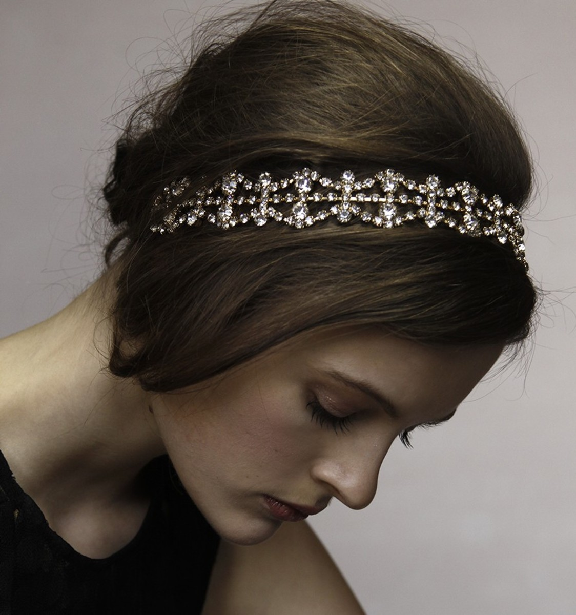 Jennifer Behr double crystal scallop headwrap, $325, available at Jennifer Behr.