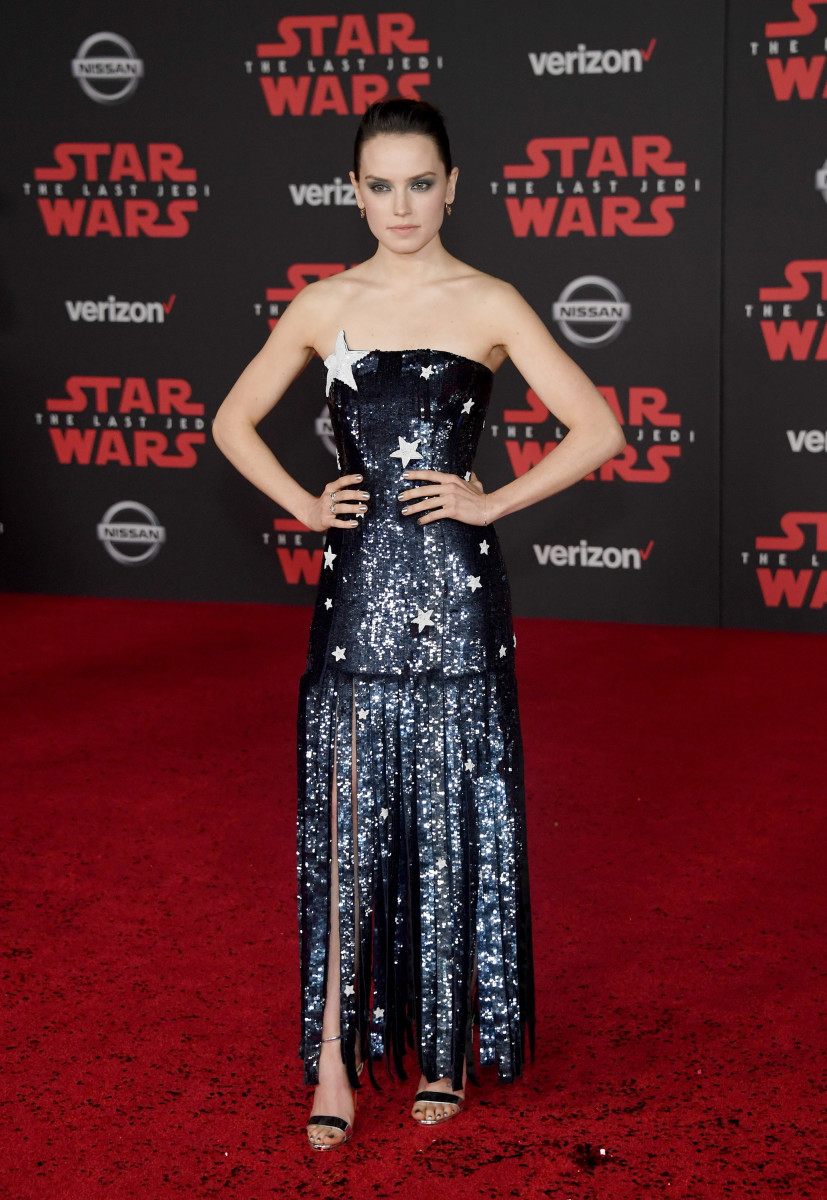 """Daisy Ridley in Monse at the premiere of """"Star Wars: The Last Jedi."""" Photo: Ethan Miller/Getty Images"""
