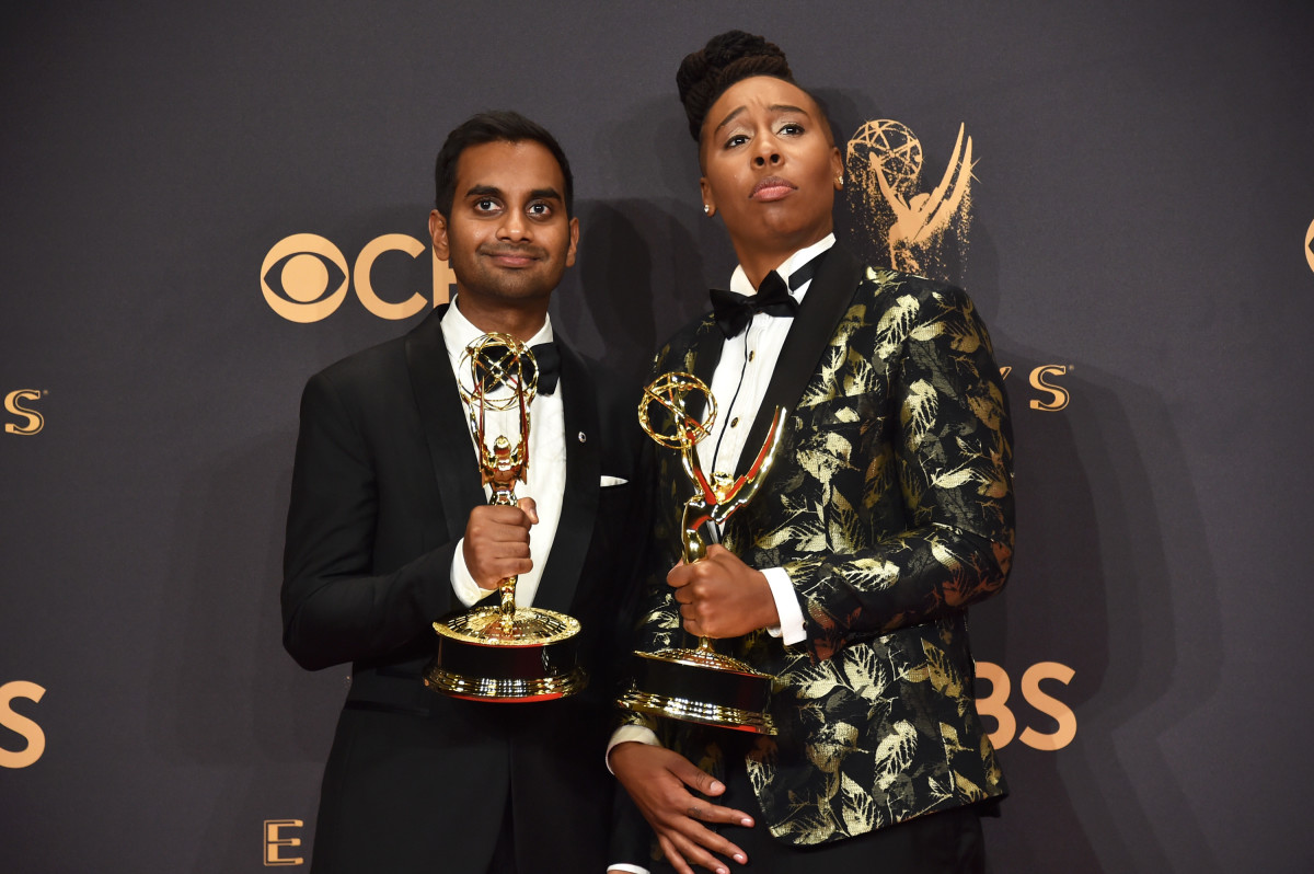 Aziz Ansari and Lena Waithe, in Alba, at the 2017 Emmy Awards. Photo: Alberto E. Rodriguez/Getty Images