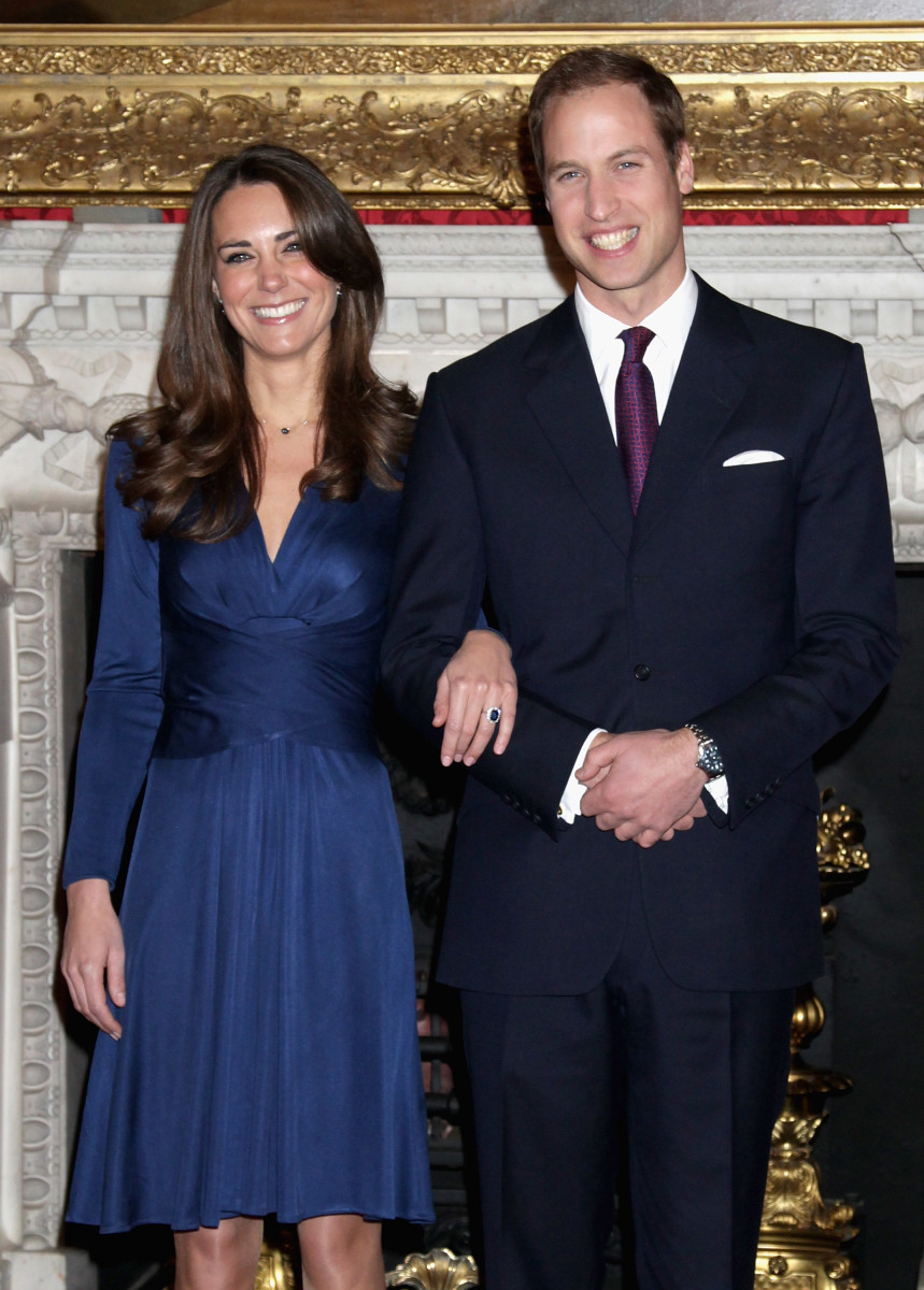 Prince William and Kate Middleton pose for photographs in the State Apartments of St James Palace. Photo: Chris Jackson/Getty Image