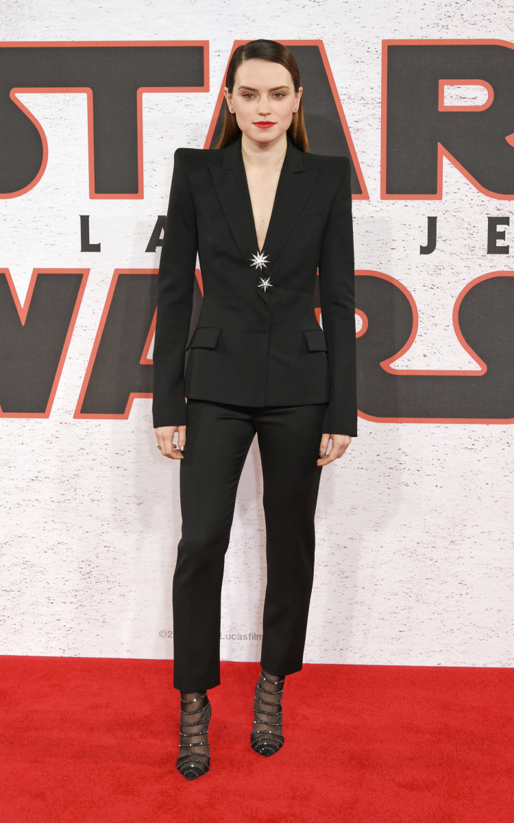 "Daisy Ridley in Mugler at the ""Star Wars: The Last Jedi"" photocall on Wednesday in London. Photo: David M. Benett/WireImage"