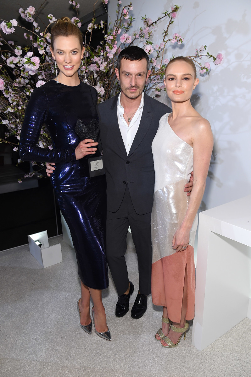 Karlie Kloss, Jonathan Saunders and Kate Bosworth. Photo: Jamie McCarthy/Getty Images