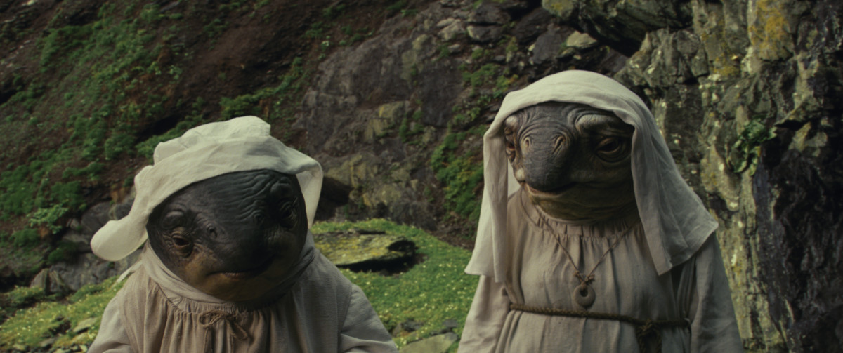 The Caretakers on Ahch-To. Photo: Industrial Light & Magic/Lucasfilm..©2017 Lucasfilm Ltd. All Rights Reserved.