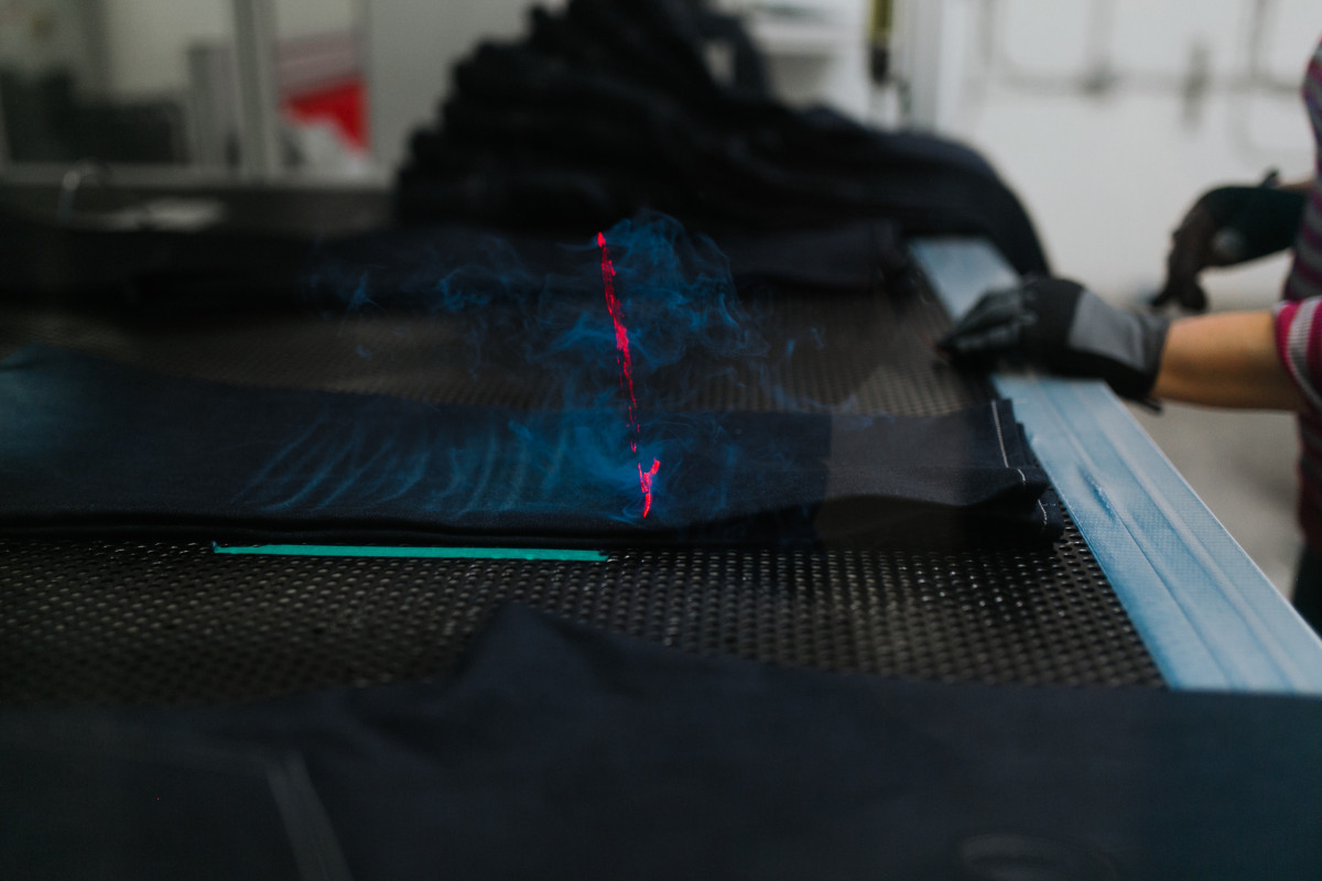 The laser machine in action. Photo: Jacob Boll/Fashionista