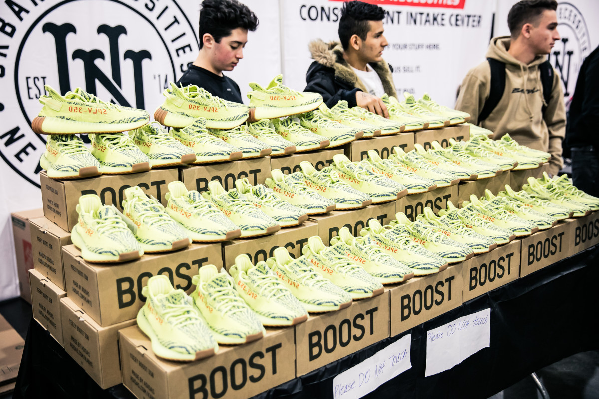 4146b092d23df Yeezy Boosts from Urban Necessities at Sneaker Con 2017. Photo  Sneaker Con