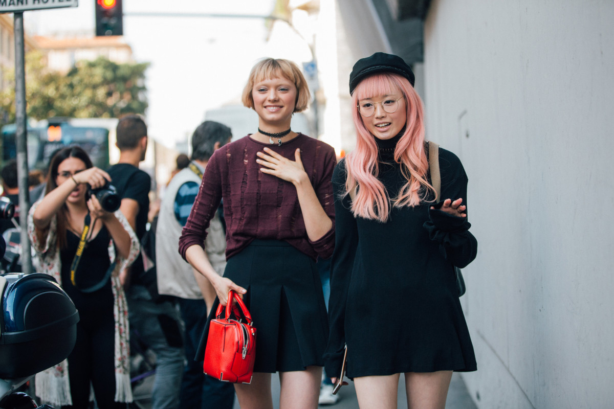 Models Katie Moore and Fernanda Ly after the Ermanno Scervino Spring 2017  show in Milan. ef1f49e3a3e19