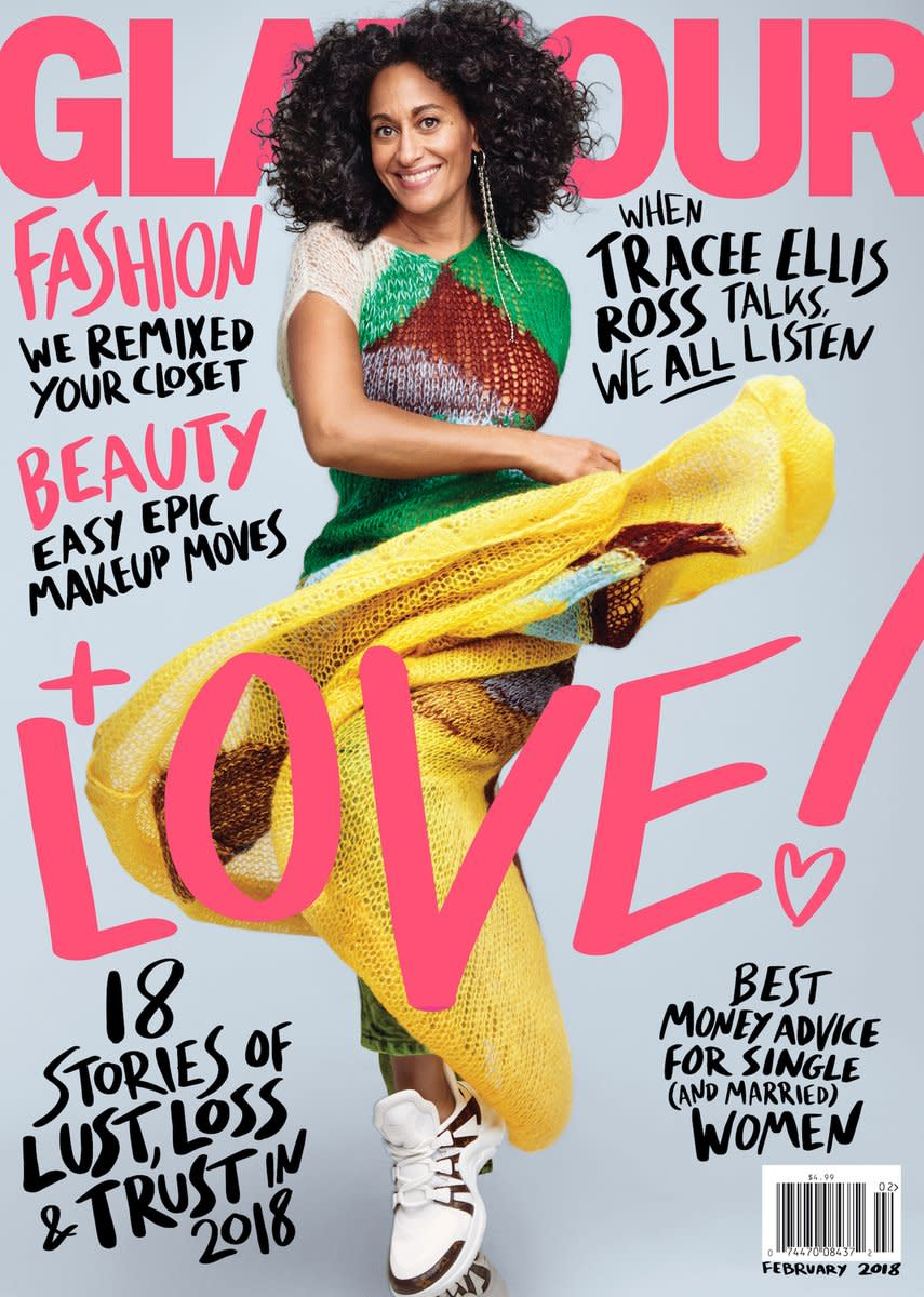 """Tracee Ellis Ross on """"Glamour,"""" February 2018. Photo: Patrick Demarchelier"""