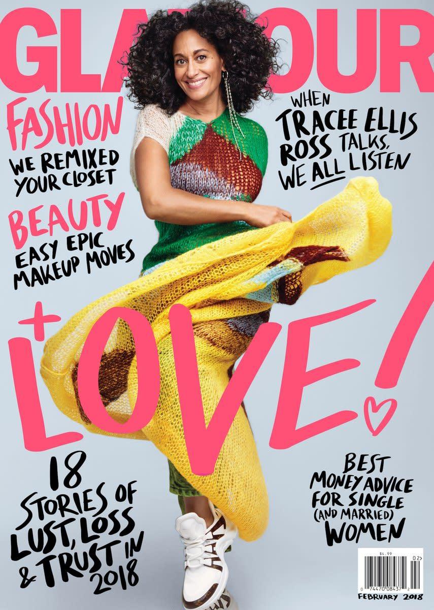 """Tracee Ellis Ross on """"Glamour,"""" February 2018. Photo: Courtesy of """"Glamour"""""""