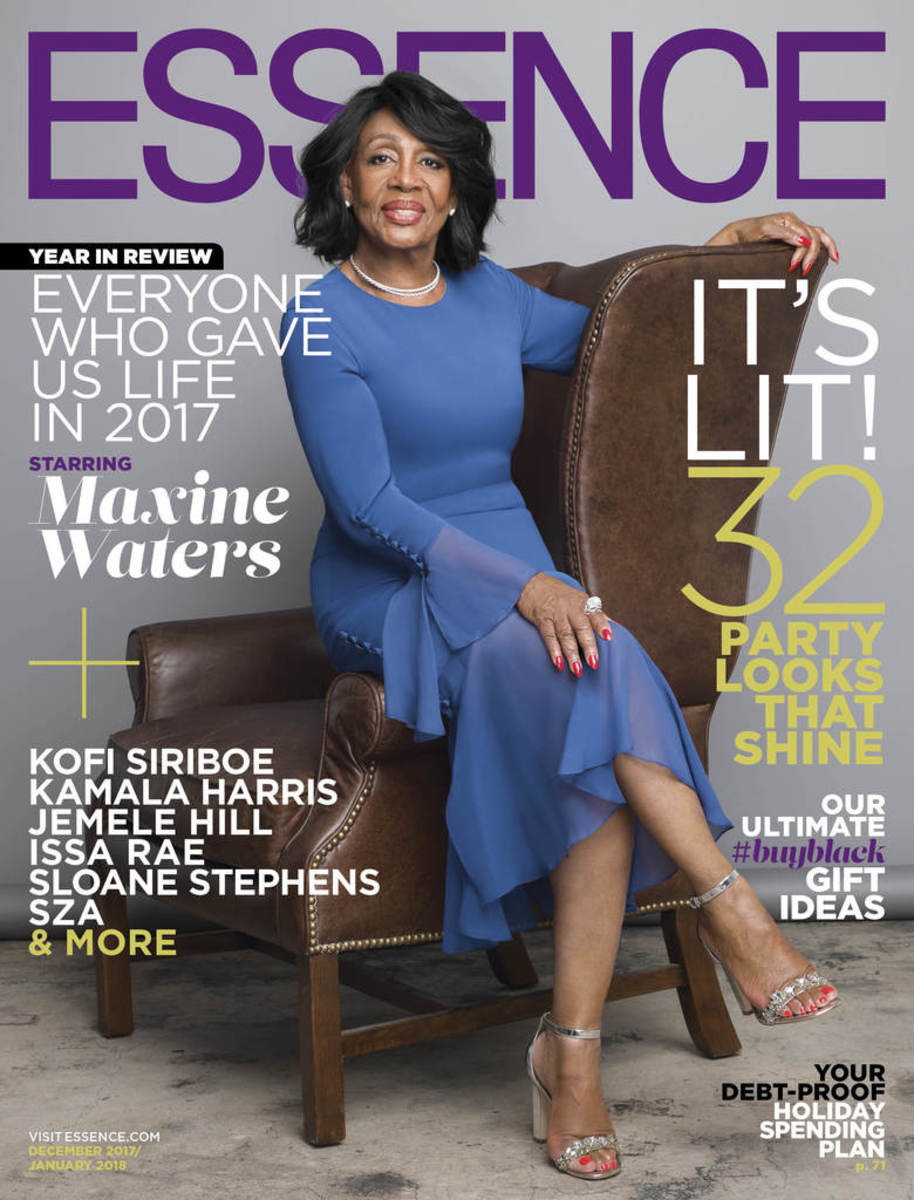 "Maxine Waters on ""Essence,"" December 2017/January 2018. Photo: @essence/Instagram"
