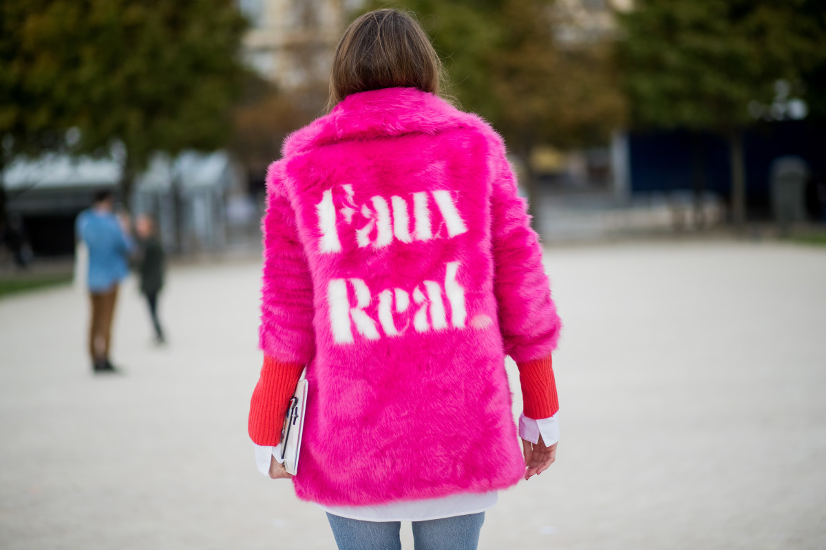 Alexandra Lapp wearing a fake fur jacket from Jakke in Paris, Sept. 2017. Photo: Christian Vierig/Getty Images