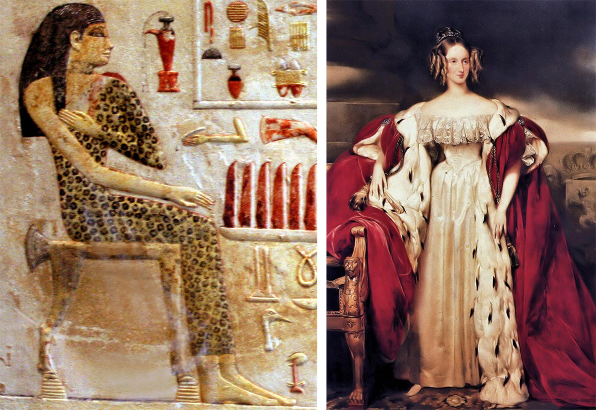 [Left]: Painting of Egyptian princess Neferetiabet (dated 2590-2565 BC). Photo: Wikimedia Commons; [Right]: Portrait of Louise of Orléans (1812-1850), Photo: Wikimedia Commons