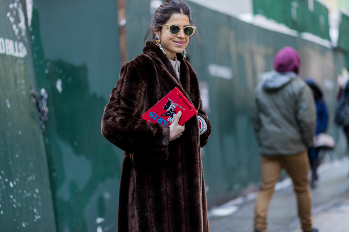 Leandra Medine wearing a Staud fake fur coat during New York Fashion Week, Feb. 2017. Photo: Christian Vierig/Getty Images