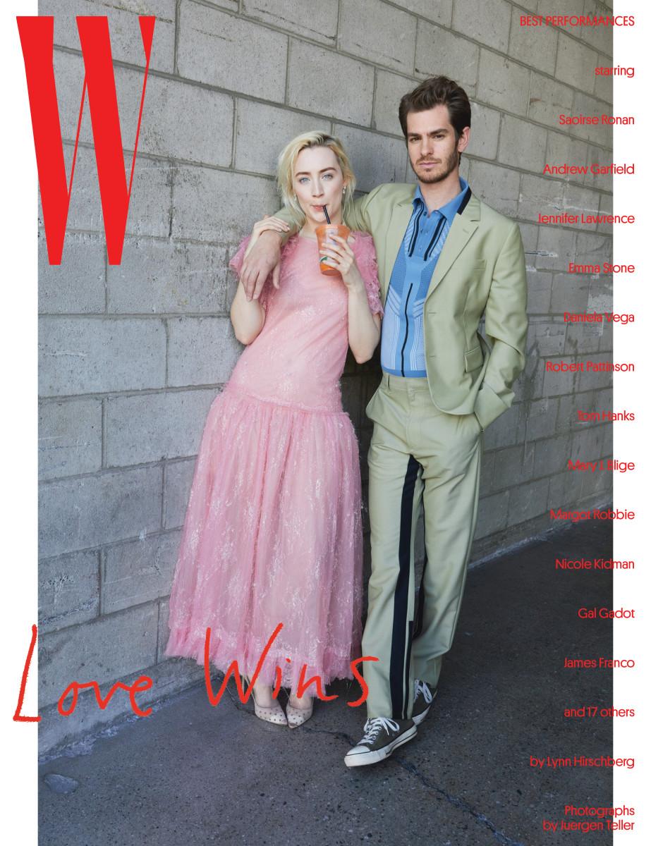 """Saoirse Ronan and Andrew Garfield. Photo: Juergen Teller/""""W"""" Magazine"""