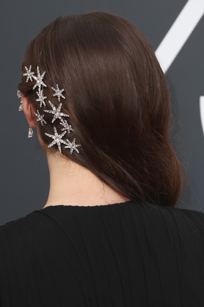 Katherine Langford wearing Jennifer Behr clips. Photo: Frederick M. Brown/Getty Images