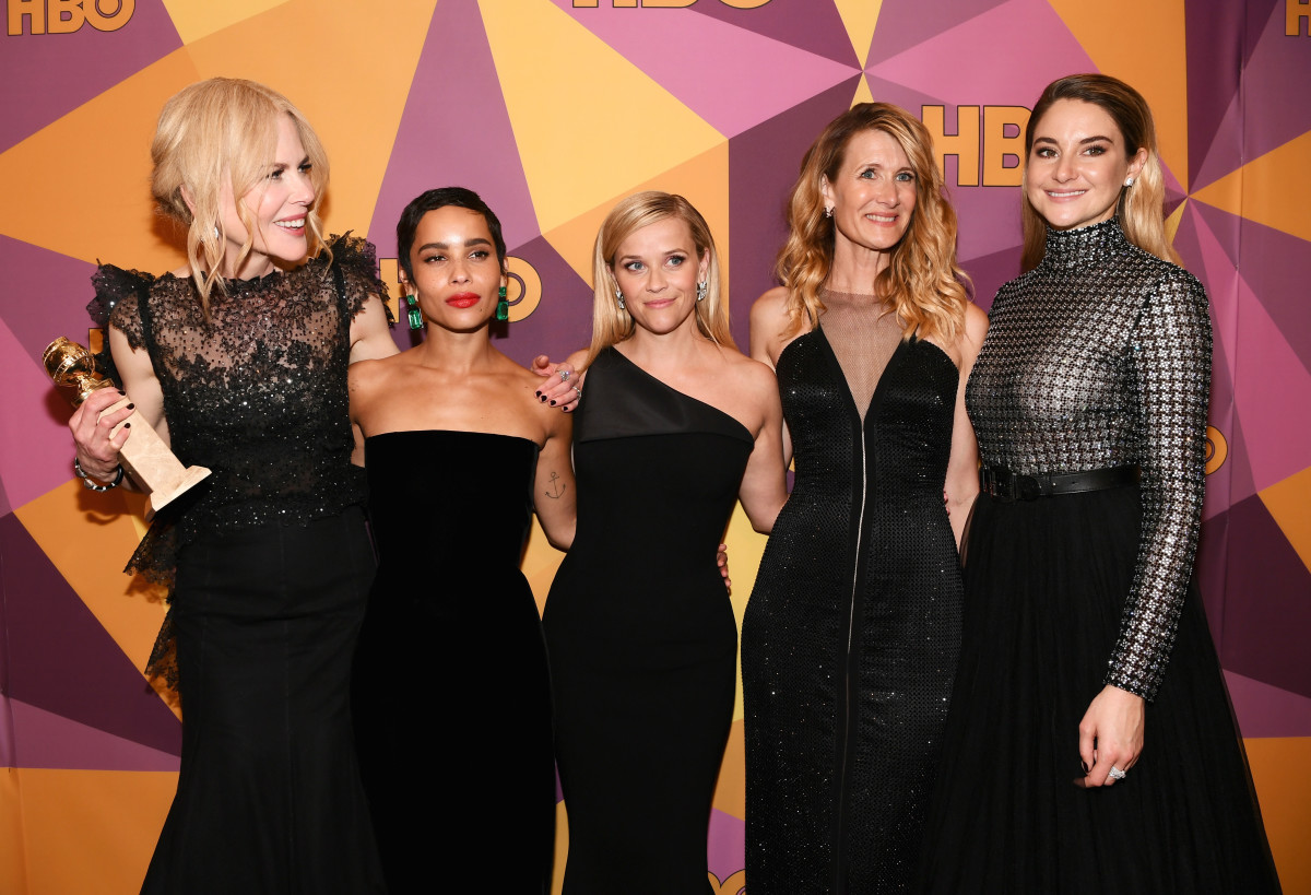 Nicole Kidman, Zoe Kravitz, Reese Witherspoon, Laura Dern and Shailene Woodley at HBO's Official Golden Globe Awards After Party. Photo: Emma McIntyre/Getty Images