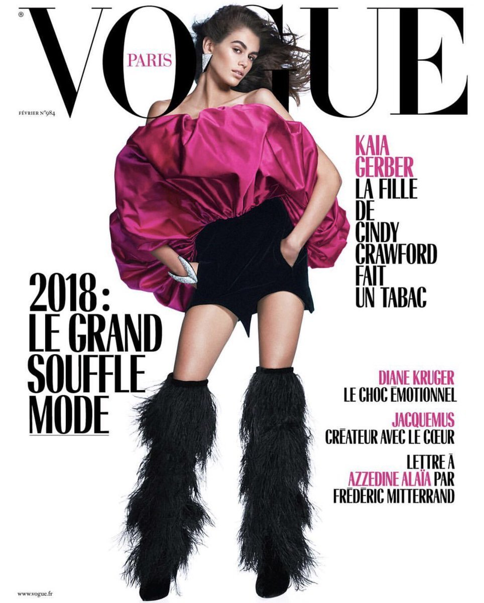 Kaia Gerber on the February cover of 'Vogue' Paris. Photo: @vogueparis/Instagram