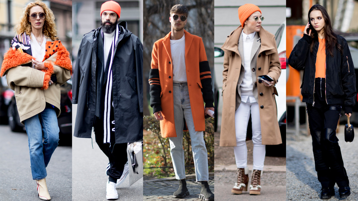 The Street Style Crowd Wore Pops Of Orange At Milan Men 39 S