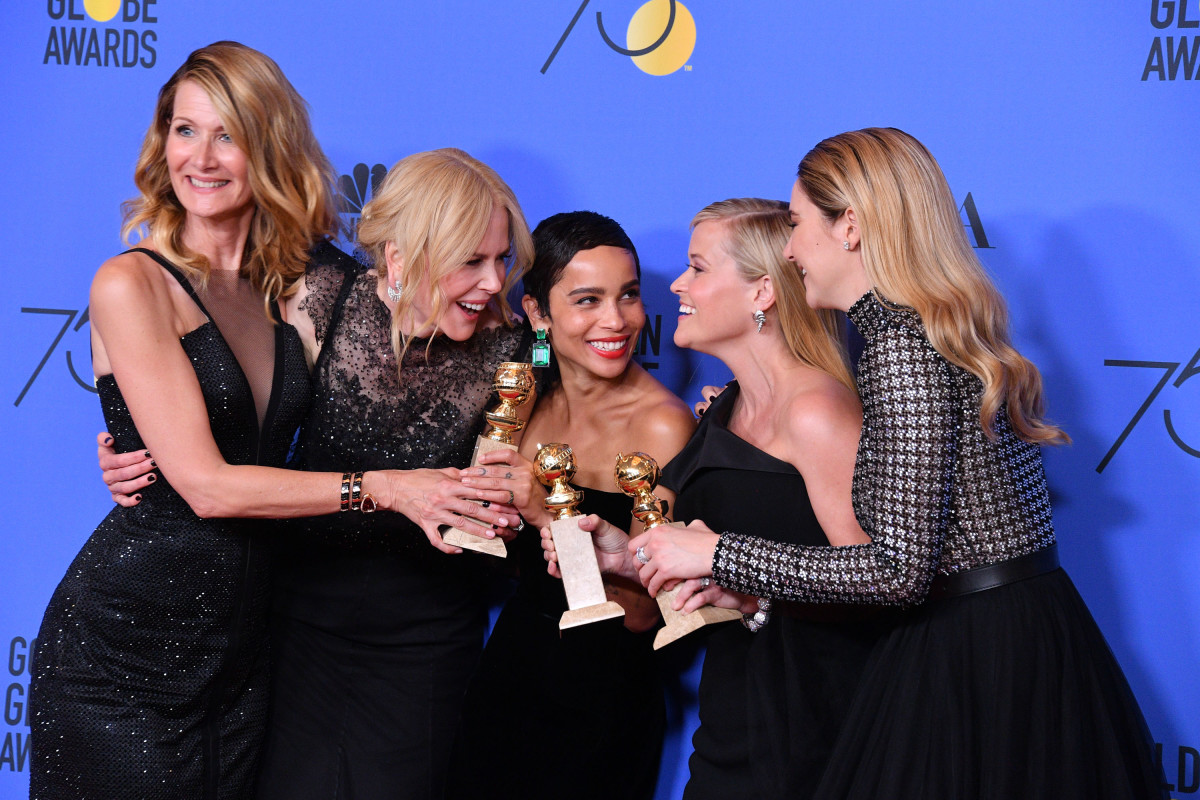 Laura Dern, Nicole Kidman, Zoe Kravitz, Reese Witherspoon and Shailene Woodley at the 2018 Golden Globes. Photo: George Pimentel/WireImage