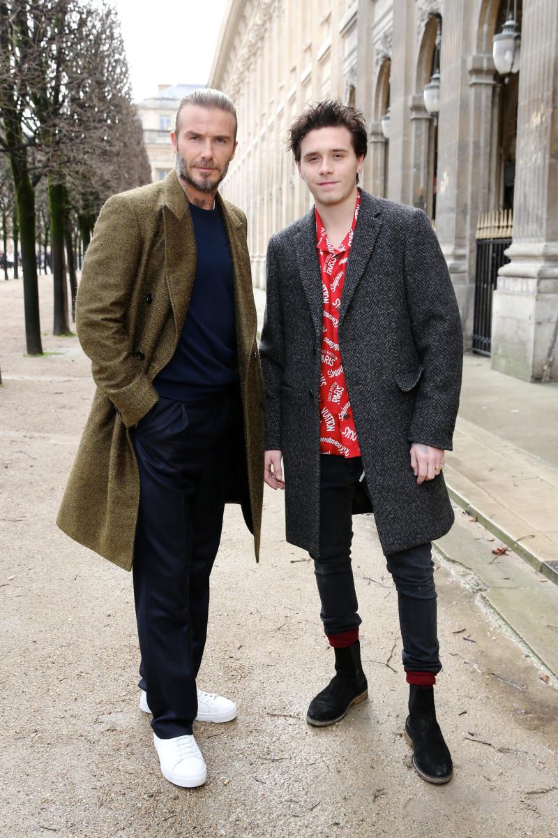 David Beckham and Brooklyn Beckham at the Louis Vuitton men's show in Paris. Photo: Louis Vuitton