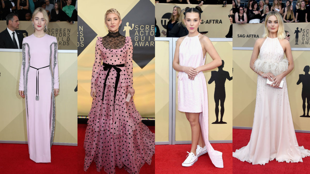 Saoirse Ronan, Kate Hudson, Millie Bobby Brown and Margot Robbie at the 2018 SAG Awards. Photos: Getty Images