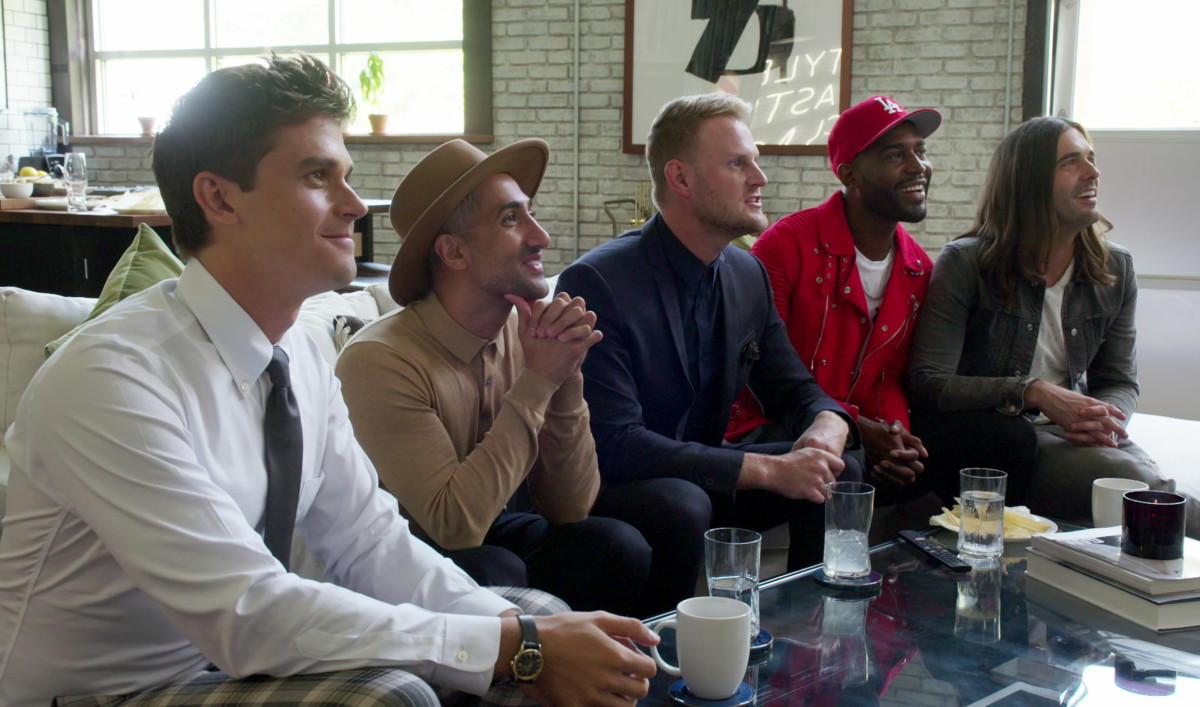 Left to right, Porowski, France, Berk, Brown and Van Ness watch the episode's hero ready himself for his big debut event. Photo: Netflix