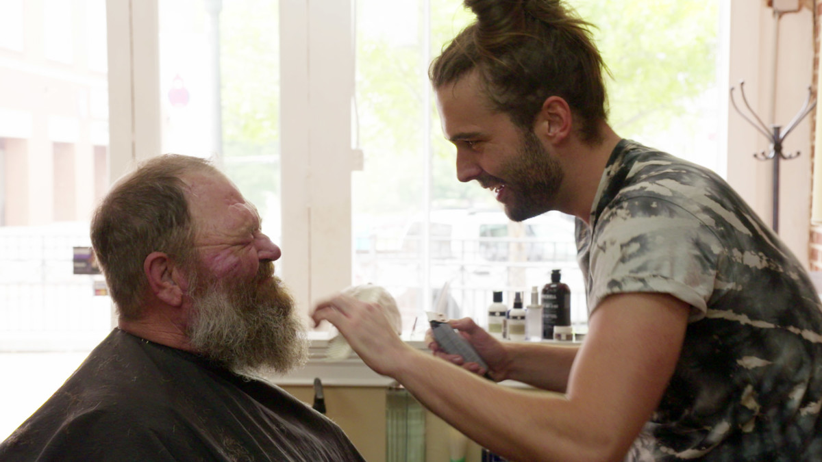 Van Ness gives Tom a few expert grooming tips in episode one. Photo: Netflix