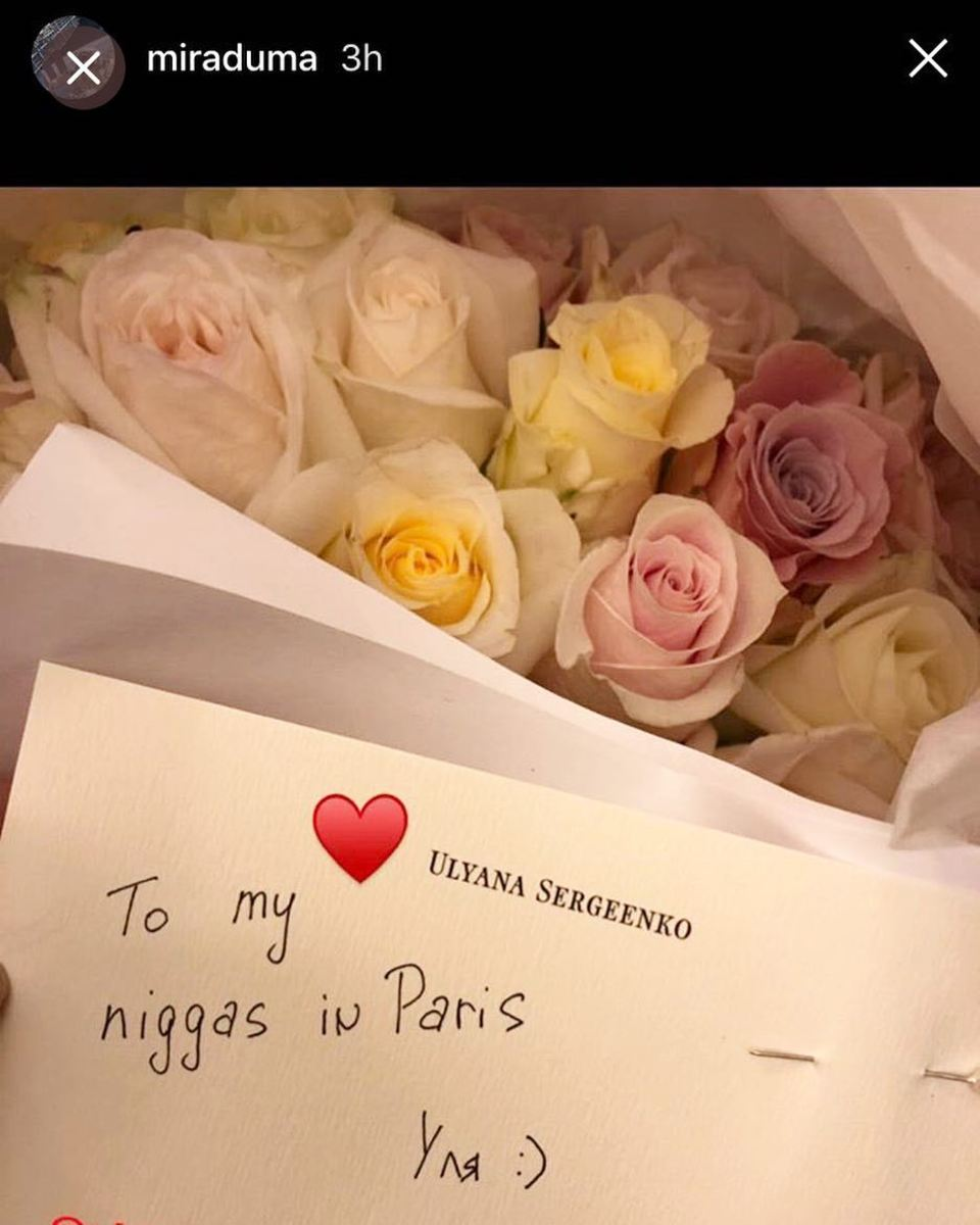 A screencap of the note Ulyana Sergeenko sent to Miroslava Duma. Photo: @bryanboycom/Instagram