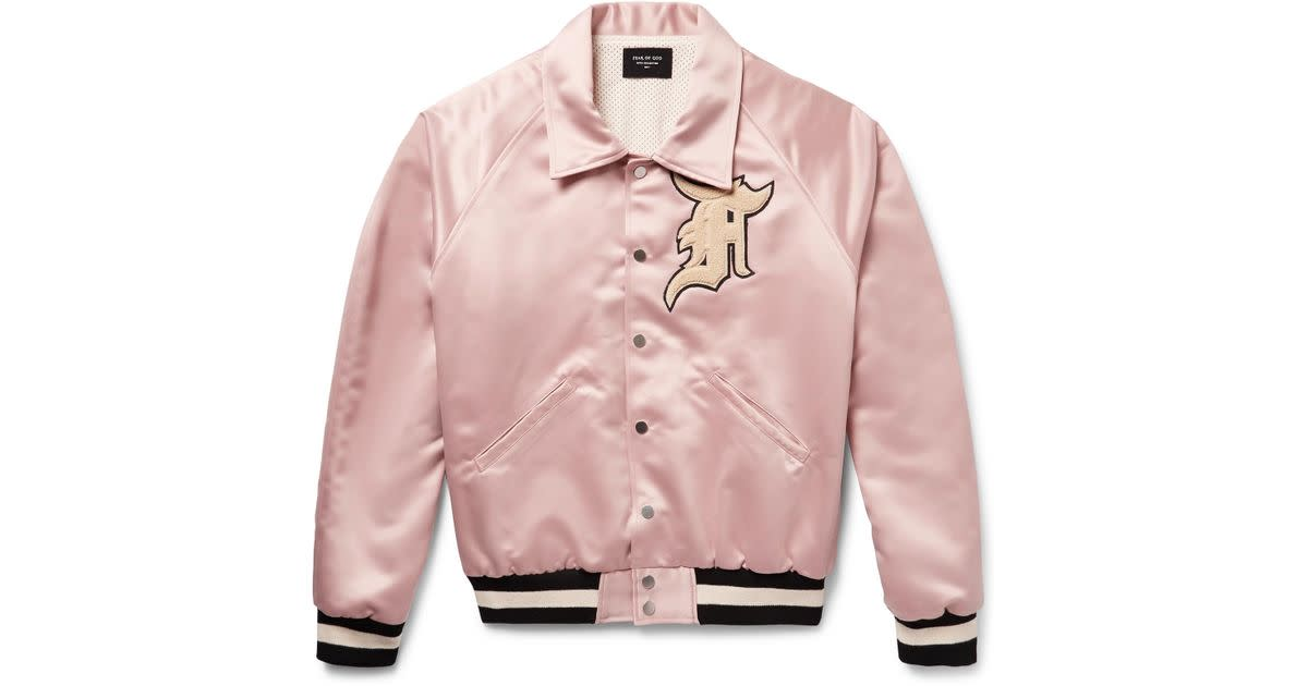 Pink silk bomber jacket, $1500, available at Ssense