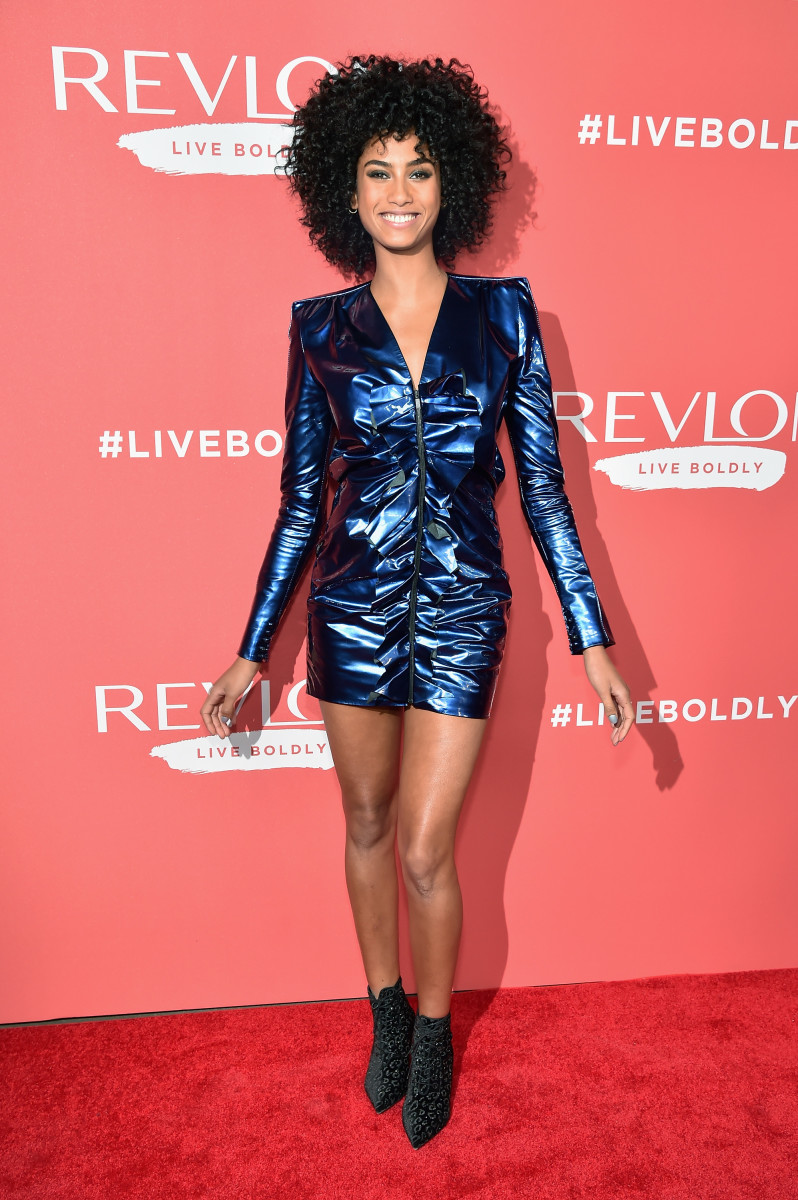 "Imaan Hammam in Saint Laurent at Revlon's ""Live Boldly"" on Wednesday in New York City. Photo: Kevin Mazur/Getty Images for Revlon"