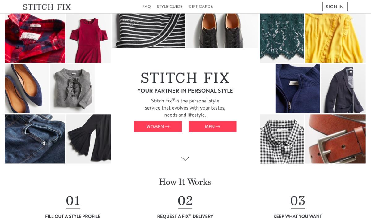 Screenshot: Stitchfix.com