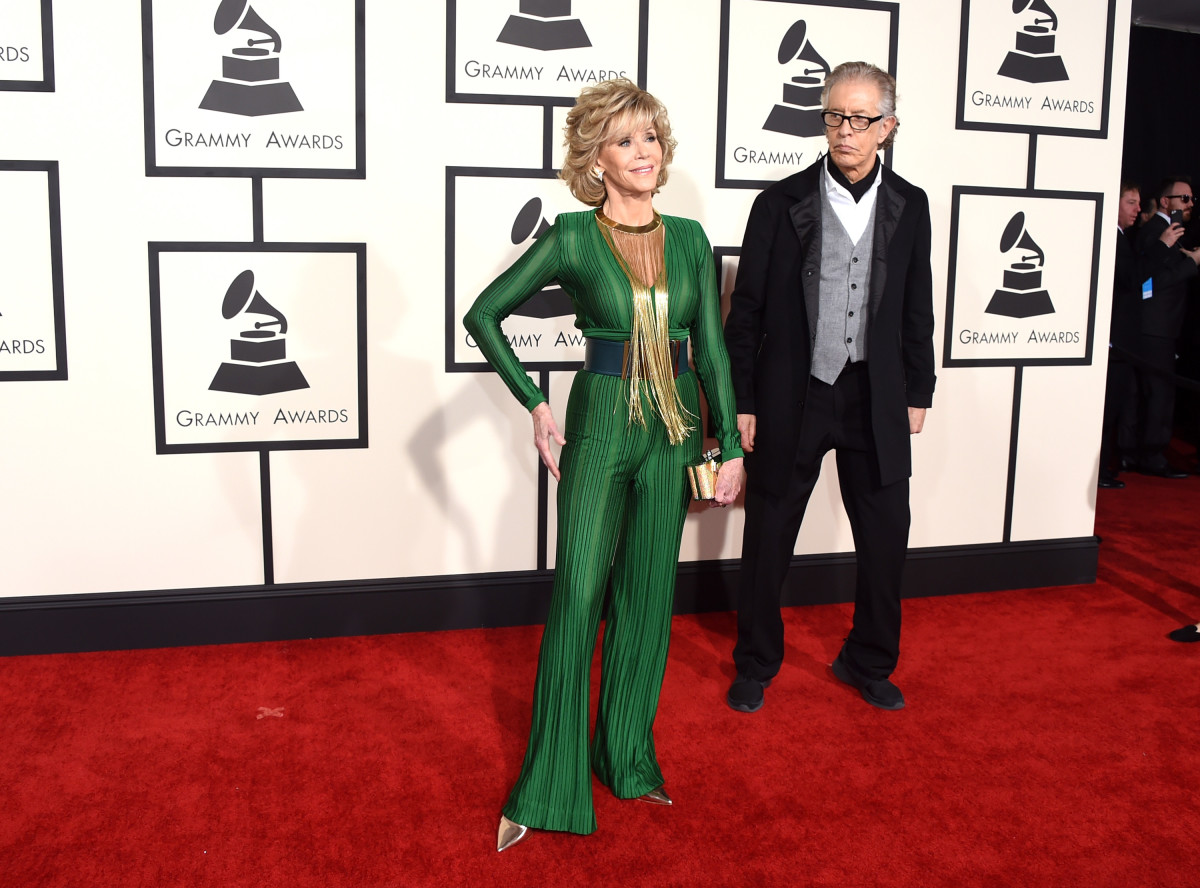 Jane Fonda in Balmain at the 2015 Grammy Awards. Photo: Jason Merritt/Getty Images
