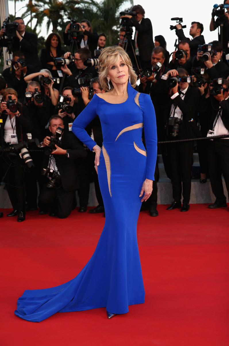 "Jane Fonda in Versace at the ""The Sea Of Trees"" premiere at the Cannes Film Festival. Photo: Andreas Rentz/Getty Images"