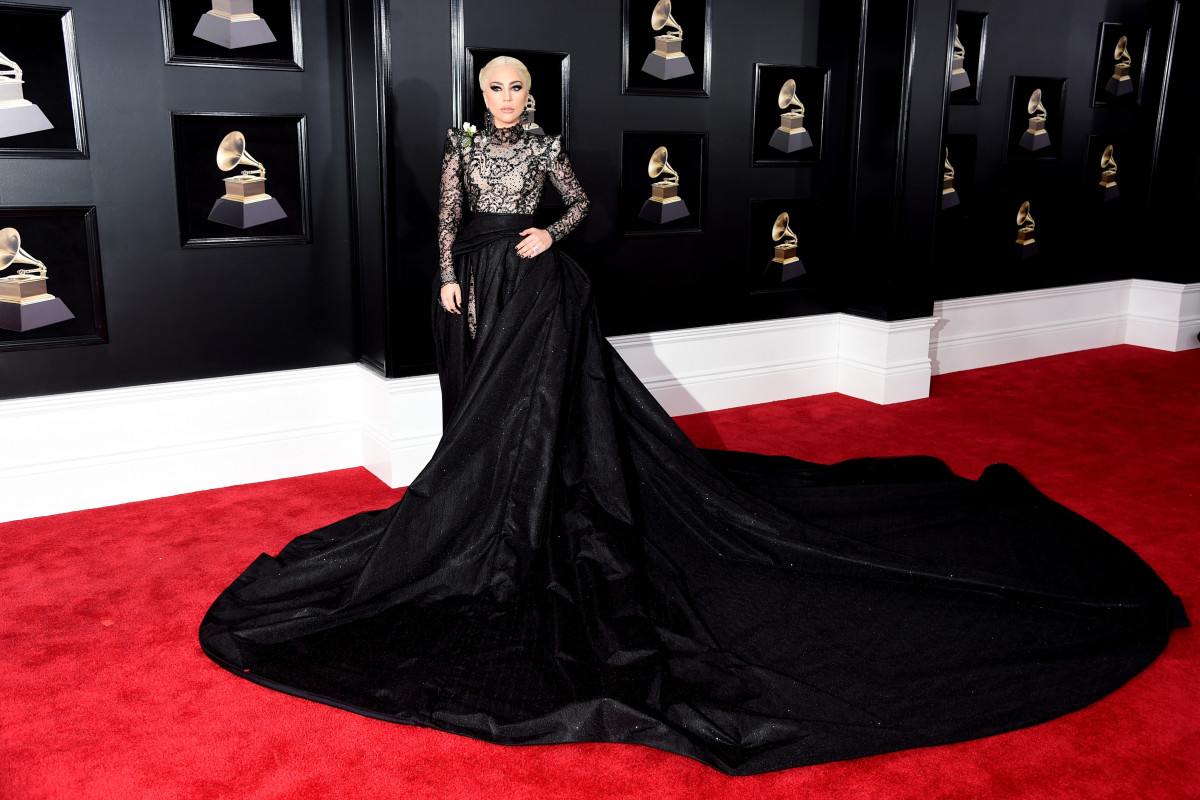 Lady Gaga in Armani Privé at the 60th annual Grammy Awards. Photo: Jamie McCarthy/Getty Images