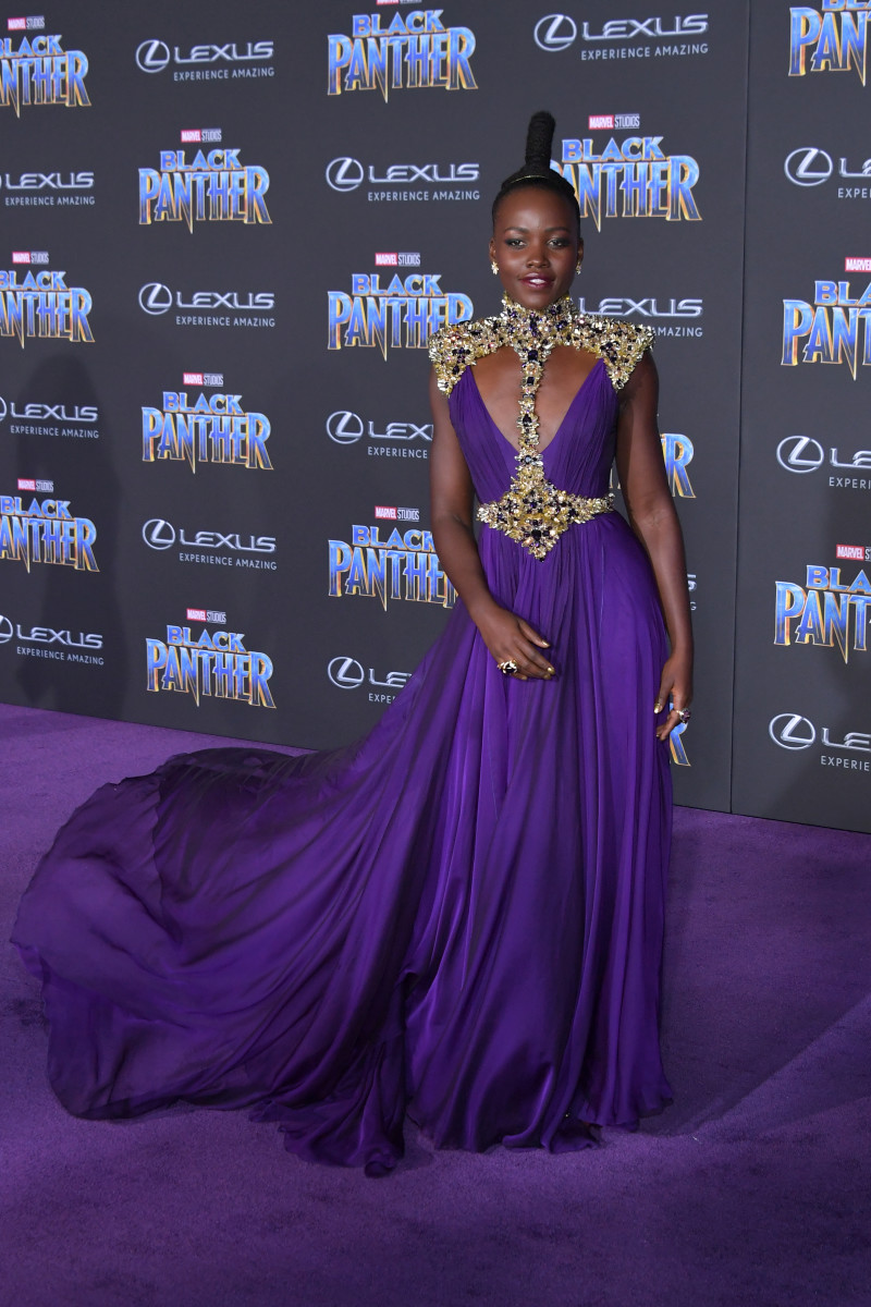 "Lupita Nyong'o in custom Atelier Versace at the premiere of ""Black Panther"" in Los Angeles. Photo: Neilson Barnard/Getty Images"