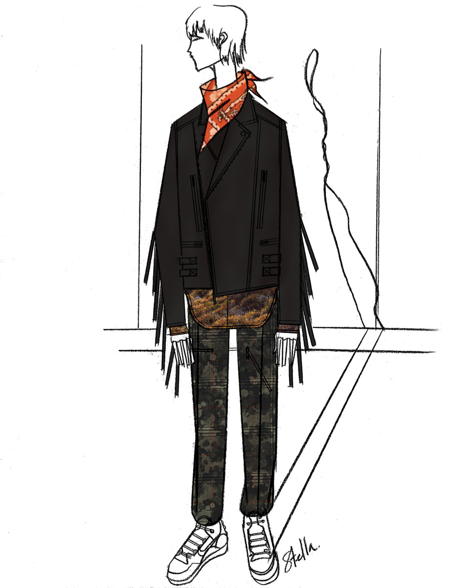 A sketch of Justin Timberlake's Super Bowl Stella McCartney look. Photo: Courtesy of Stella McCartney