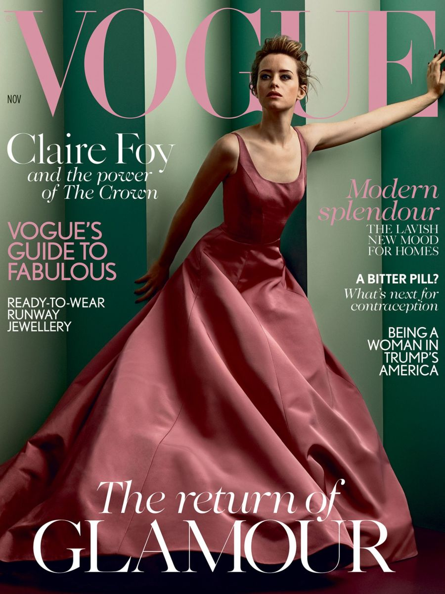 Claire Foy in Christian Siriano on the November 2017 cover of 'Vogue' UK. Photo: Vogue UK