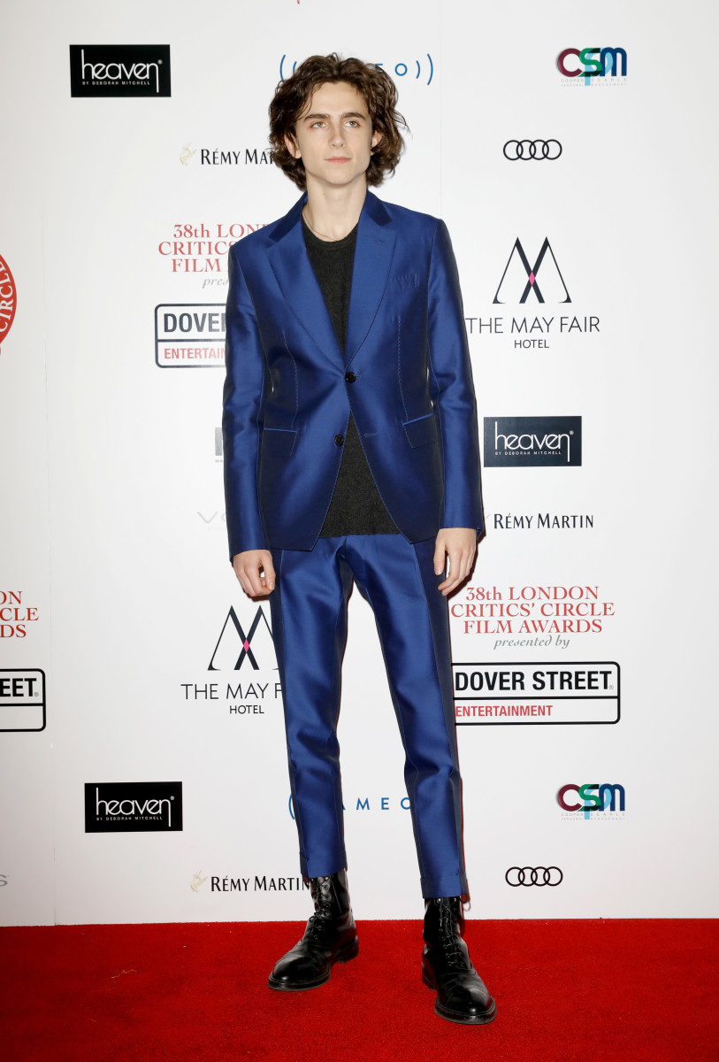 Timothée Chalamet in Berluti at the London Film Critics Circle Awards. Photo: Tristan Fewings/Getty Images