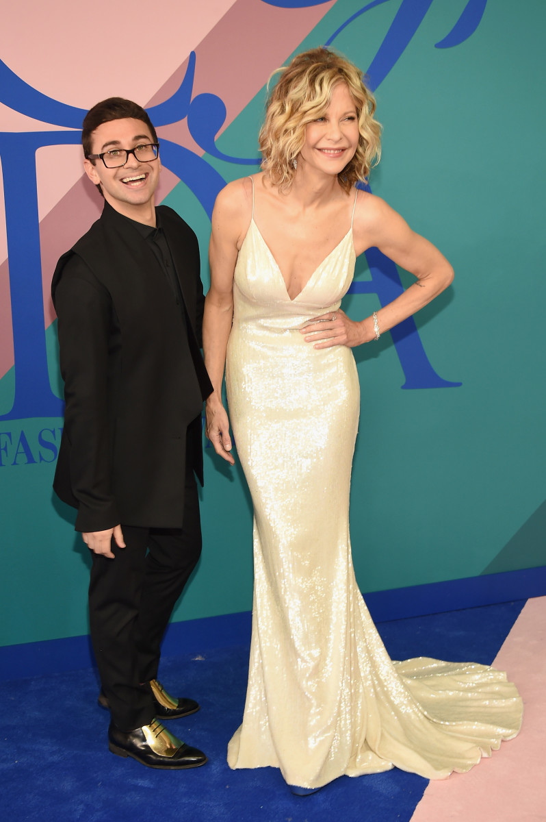 Christian Siriano with Meg Ryan at the 2017 CFDA Awards. Photo: Dimitrios Kambouris/Getty Images