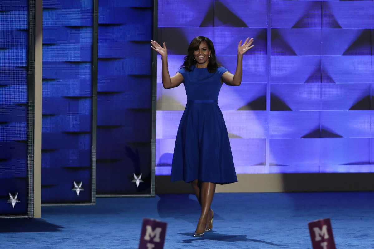 Michelle Obama in Christian Siriano at the 2016 Democratic National Convention. Photo: Alex Wong/Getty Images