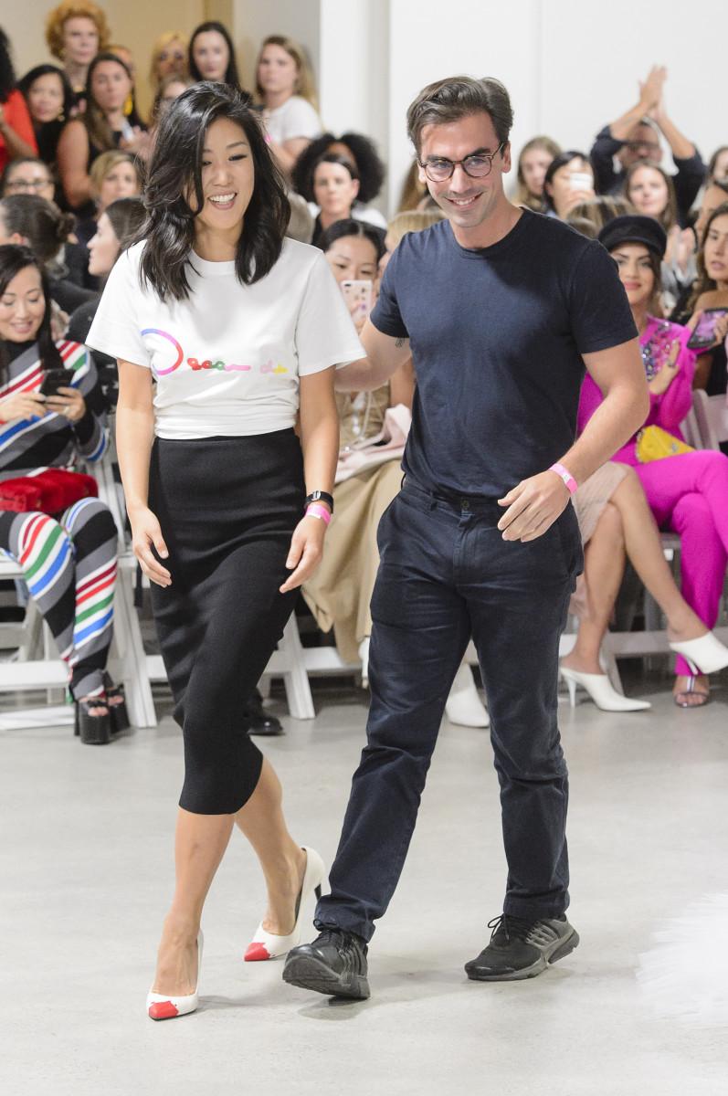 Laura Kim and Fernando Garcia at Oscar de la Renta's Spring 2018 runway show. Photo: Imaxtree