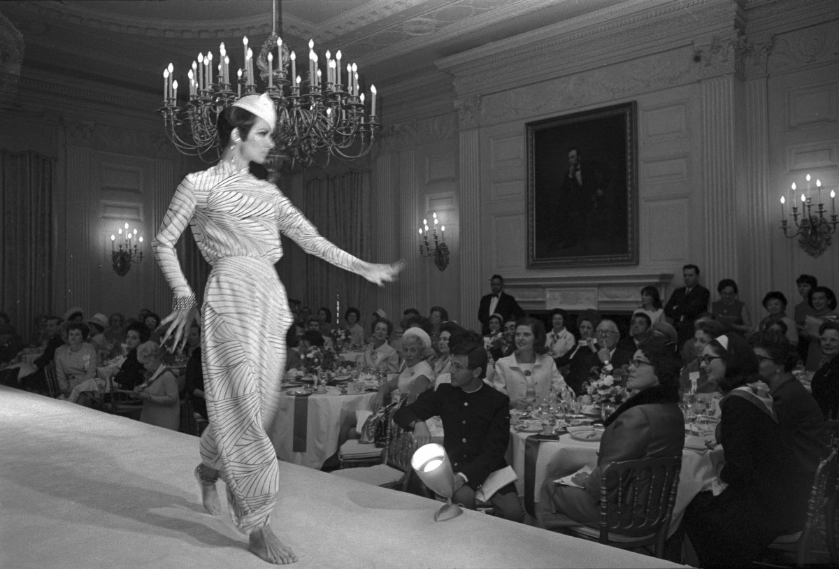The first White House fashion show, hosted by Lady Bird Johnson, February 1968. Photo: Bettmann/Getty Images