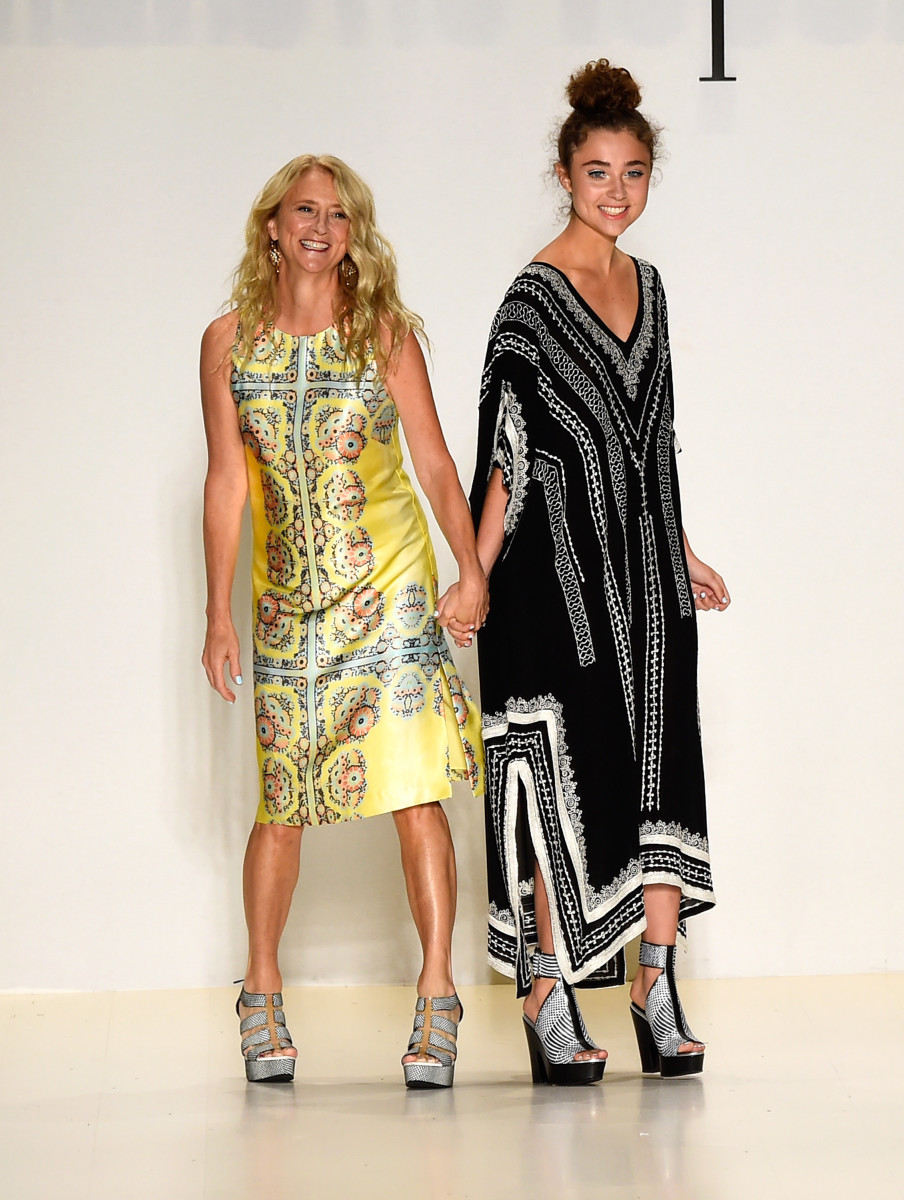 Nanette Lepore with her daughter Violet at her Spring 2015 runway. Photo: Frazer Harrison/Getty Images