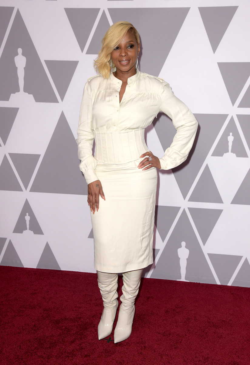 Mary J. Blige in Tom Ford at the 90th Annual Academy Awards Nominee Luncheon in Beverly Hills. Photo: Kevin Winter/Getty Images